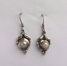 NEW  Sterling Silver & Pearl Wire Dangle Earrings ~ FREE  Gift Box ~