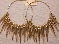 HUGE 5 1/4 INCH HOOP DANGLE PIERCED EARRINGS DA VINCI GOLD TONE LEAD NICKLE FREE