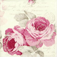 4x Single Lunch Party Paper Napkins for Decoupage Craft Vintage, Country Roses