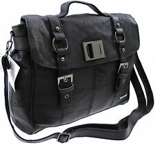LORENZ COWHIDE REAL LEATHER CASE OFFICE SATCHEL MESSENGER ACROSS BODY BAG BLACK
