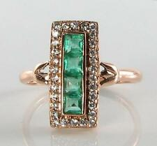 CLASS 9K 9CT ROSE GOLD LONG COLOMBIAN EMERALD & DIAMOND RING FREE RESIZE