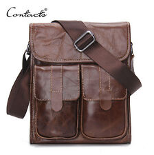 Genuine Leather Men Designer Messenger Shoulder bags Vintage Retro Cow Briefcase