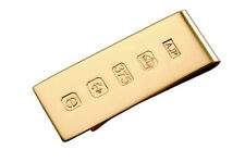 SOLID 9 CARAT GOLD MONEY CLIP WITH FEATURE HALLMARK. 19mm wide MADE IN ENGLAND