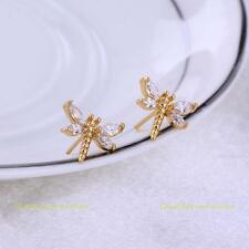 New Fashion 18K Gold Plated Ear Stud Lovely Dragonfly Crystal Stud Earrings