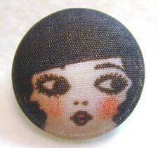 """1920s Flapper Girl Button Hand Printed Fabric """" Olivia """""""