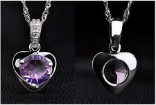 925 silver plated Amethyst heart necklace & pendant 45cm./The Calming gemstone