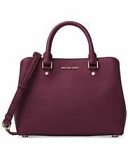 MICHAEL KORS SAVANNAH SAFFIANO PLUM LEATHER MEDIUM SATCHEL BAG