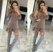 Womens Sexy Casual Ruffle Long Sleeve Evening Party Cocktail Mini Dress Winter ღ