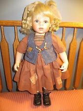 KINGSTATE Porcelain Doll BEAUTIFUL BLONDE BRAIDS BLUE EYES Patches COUNTRY GIRL