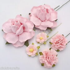 50 Soft Pink Carnation Roses Mulberry Paper Flowers Wedding Gift Scrapbook ZM3-2