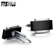 High Quality TTstyle 316L Black Stainless Steel Silver Edge Cufflinks NEWArrival