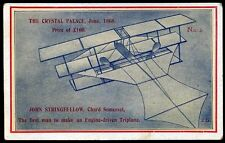 1912 John Stringfellow Triplane Chard Somerset Postcard No. 2