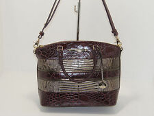 NWT New Brahmin Handbag Duxbury Satchel Bag Boysenberry Churchill Leather Purse