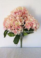 """Sweet Home Deco 18"""" Super Soft Silk Hydrangea Artificial Flower Bouquet 5 Heads"""