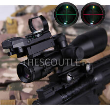 2.5-10X40 Tactical Rifle Scope w/Red Laser Mini Reflex 3 MOA Green Red Dot Sight
