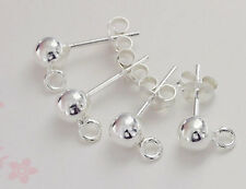 925 Sterling Silver 2 Pairs of Post Stud Earrings 5mm Ball with Closed Loop.
