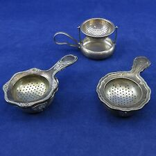 3 WMF Vintage Lot TEA STRAINERS w/ DRIP CUPS Silverplate ALEMANIA C.E.A.S. Mark