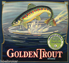 ORANGE CRATE LABEL GOLDEN TROUT VINTAGE FISHING TULARE BASS SCARCE STONE LITHO