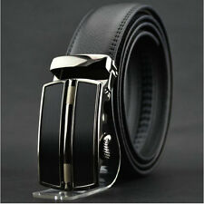 Mens Black Dress Fashion Leather Belt with Stainless Steel Auto Lock Buckle L5