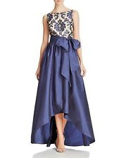 BNWT Adrianna Papell High Low Ball Gown Navy Bow Lace 08192851 US Size16