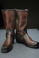 FRYE Harness 12R Leather Women's Boots Size 8 M Dark Brown FRYE 150 MADE IN USA!
