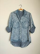 Bella Dahl Casual Button Down Tie Dye Striped Pocket Flannel Blouse Top Blue XS