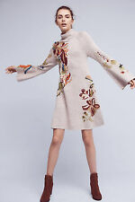 NWT Anthropologie Knitted & Knotted Embroidered Petals Swing Sweater Dress L