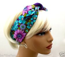 New Blue Purple FLOWERS Hair Tie Wrap Headband Bandana PURSE SCARF