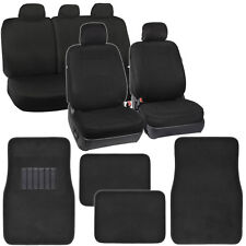 Black Seat Covers for Car Auto Polyester Cloth 60/40 Split Bench 4pc Carpet Mats