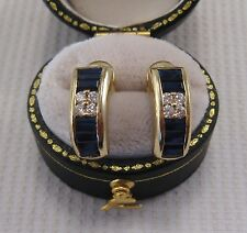 Sapphire & Diamond Earrings set in 18ct Yellow Gold