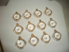 VTG (12) Clear Faceted Lucite Mustard Seed Charms Pendants Gold Tone NOS A