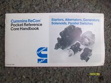 Vintage Rare Cummins ReCon Pocket Reference Core Handbook Starters, Alternators