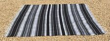 """Mexican Blanket Sarape  Black and Gray """"84x60"""" Made in Mexico."""