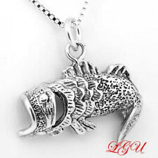 """SILVER OPEN MOUTH BASS FISH CHARM WITH 18"""" BOX CHAIN"""
