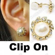 COMFY CLIP ON cream PEARL& CRYSTAL 1.2cm EARRINGS rhinestone gold pltd diamante