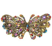 Rainbow Multi-Colored Crystal Butterfly Antique Gold Metal Hair Accessory Clip