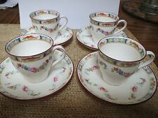 MINTON - ROSE FLORAL SWAGS PATTERN - SET OF 4 DEMITASSE CUPS AND SAUCERS A4807