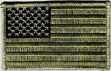 USA AMERICAN FLAG, GREEN CAMO,MILITARY,BIKER,PATRIOTIC/Iron On Embroidered Patch