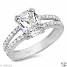 3.40 CT Engagement Ring Cushion Cut Split Shank 14k Solid White Gold Bridal