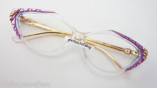 Guy Laroche große Cateye Brille Acetatgestell klar-violett Schmuckbrille Damen L