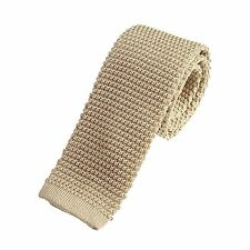 Men's Plain Light Oatmeal Narrow Slim Skinny Silk Knitted Tie (N001)