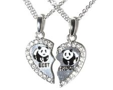 NEW BEST FRIEND Panda Heart Silver Tone 2 Pendants Necklace BFF Friendship