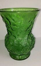 "Vtg E.O. BRODY Crinkle Green Glass Flower Vase 8"" D"