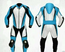 ROAD MASTER SKY BLUE AND WHITE  MOTORBIKE/MOTORCYCLE RACING LEATHER SUIT.