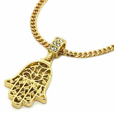 "Mens 14K Gold Plated Hamsa Hand Pendant Hip-Hop 3mm/30"" Cuban Chain pendant"