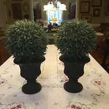 """Set of 2 Artificial Faux Potted Tabletop Topiaries w/ Black Vases 15 1/2"""" X 7"""""""
