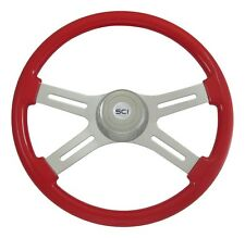 "18"" Viper Red 4 Spoke Classic Steering Wheel 3-Hole for Freightliner, Peterbilt+"