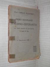 PRIMO DIZIONARIO ITALIANO ESPERANTO Emilio Plaafnet linguistica libro manuale di