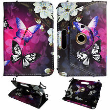"For Kindle Fire HD 6""  Pink Butetrfly Wht Flower PU Leather Case Cover O39"
