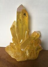 UK NEW YELLOW / GOLD ANGEL AURA POWERFUL TITANIUM QUARTZ CRYSTAL CLUSTER RAINBOW